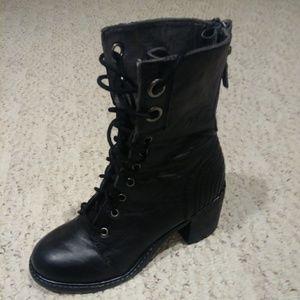 ZIGI Girl black leather lace up boots size 7